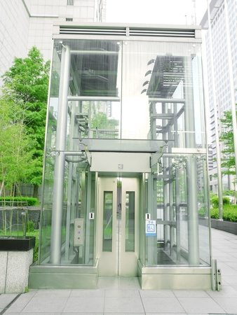 Outdoor transparent elevator photo
