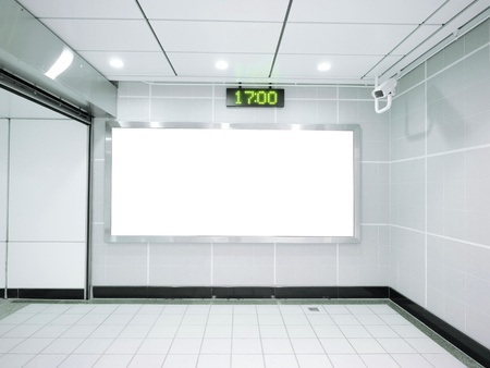 Three blank billboard in underground photo