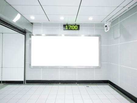 Three blank billboard in underground