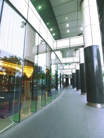 Long walkway of modern building photo