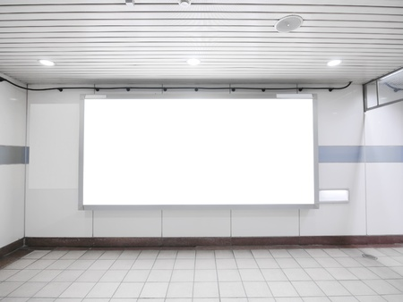Blank billboard in underground photo