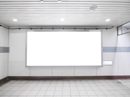 Blank billboard in underground photo
