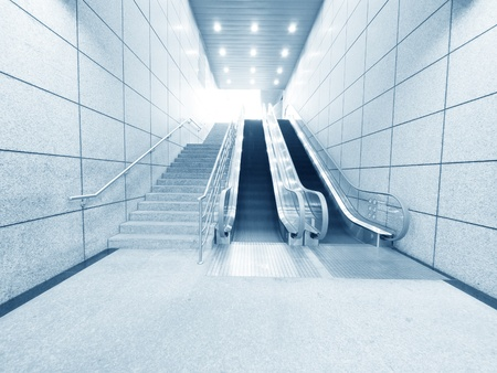 shiny floor: Staircase and escalator in underground