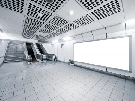 Staircase and escalator in underground photo