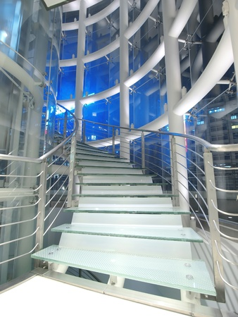 metal handrail: Staircase made by glass