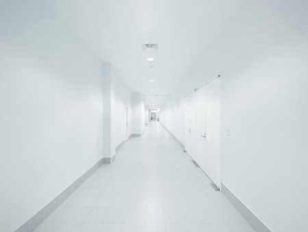 hospital interior: Long walkway and white wall