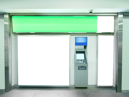 bank interior: Billboard and automated teller machine