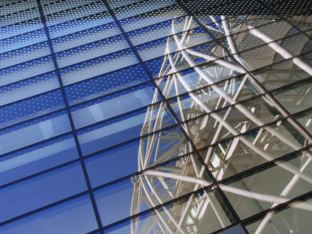 Glass wall of modern building photo