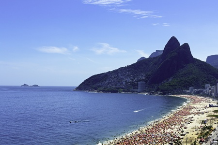 Ipanema Beach With Full of People in Rio de Janeiro photo