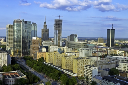 warszawa: Warsaw aerial view in the late afternoon