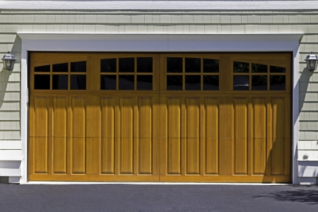American two car wooden garage photo