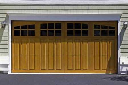 two car garage: American two car wooden garage Stock Photo