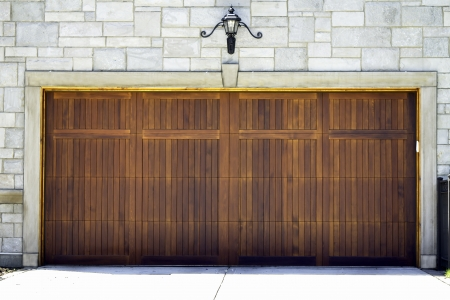 Tradicional two car wooden garage photo