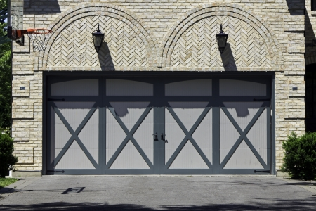 Tradicional two car brick garage