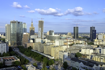 Warsaw aerial late afternno view