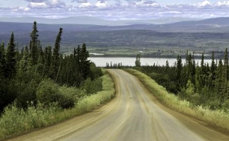 Alaska, raw curvy road north from Fairbanks photo