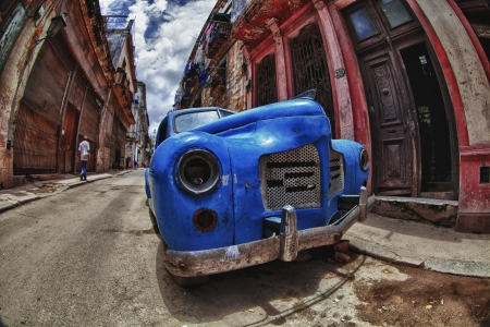Abandon old car in the street of Havana,Cuba