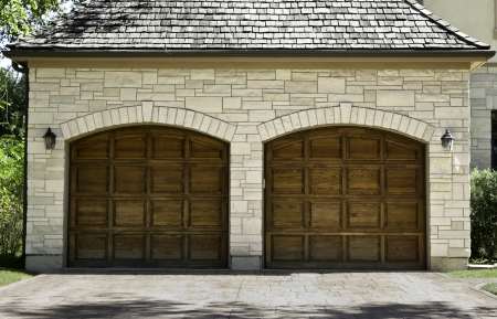 car garage: Typical american two car wooden oak car garage