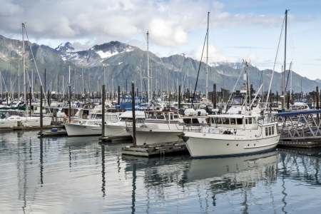 Boats at a pier in Seward ,Alaska photo