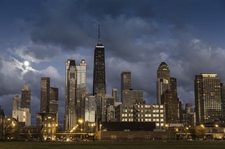 City of Chicago skyline at dusk photo