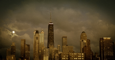 City of Chicago at dusk,vintage grainy view Stock Photo - 16075228