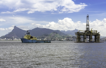 oil and gas industry: oil drilling rig against panorama of Rio De Janeiro