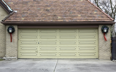 Traditional two car wooden garage with decoration