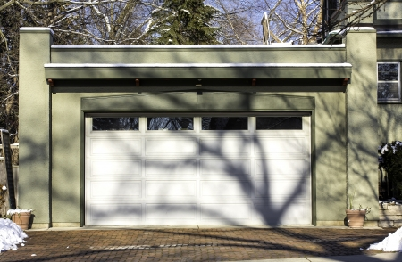 Traditional two car wooden garage Stock Photo - 17326852