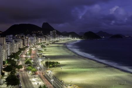 Copacabana Beach at sunset 스톡 콘텐츠