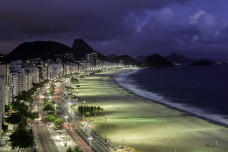 brazil beach: Copacabana Beach at sunset Stock Photo