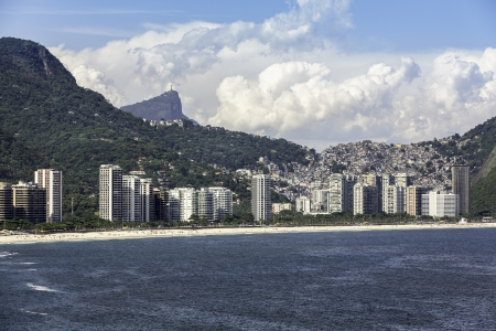 joa: Aerial view of  Sao Conrado with Corcovado at background in Brazil Stock Photo