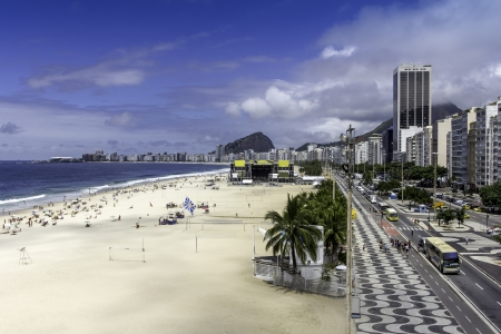 Aerial view of Copacabana Beach on sunny day Stock Photo