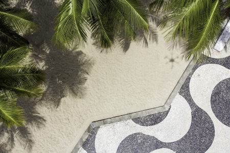 Aerial view of Copacabana sidewalk mosaic Imagens