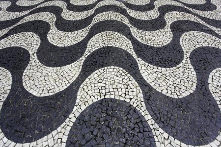 mosaic: Aerial view of Copacabana sidewalk mosaic Stock Photo