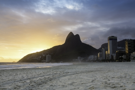 Sunset on Ipanema Beach in Rio de Janeiro, Brazil Stock Photo