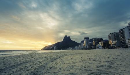 Sunset on Ipanema Beach in Rio de Janeiro, Brazil Stock Photo