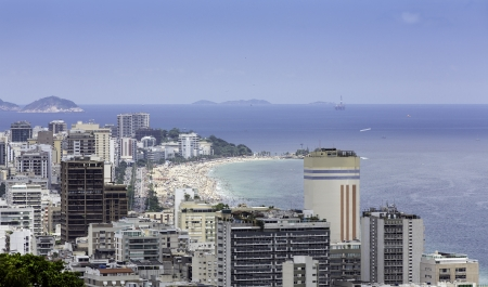 View of Ipanema Beach from the hill of Alto Lebon in Rio de Janeiro photo