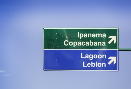 Ipanema direction road sign in Rio de Janeiro photo