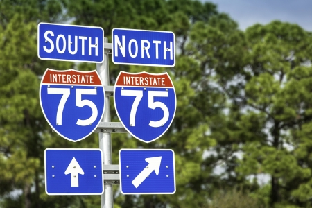 Directional signs along US Interstate I-75 in Florida