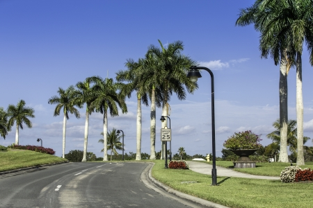 Road to community in Naples, Florida Stock Photo