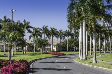 gated: Road to community buildings in Naples, Florida Stock Photo