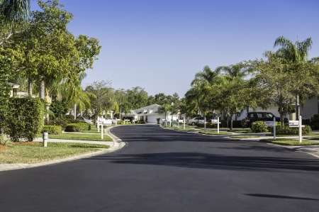 Road to community buildings in Naples, Florida Stock Photo