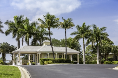 Guard entrance to gated community in Naples, South Florida