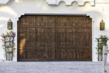 Typical wooden garage in South Florida photo