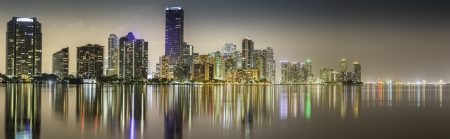 Miami downtown panorama by night illuminated by business and luxury residential buildings in Florida