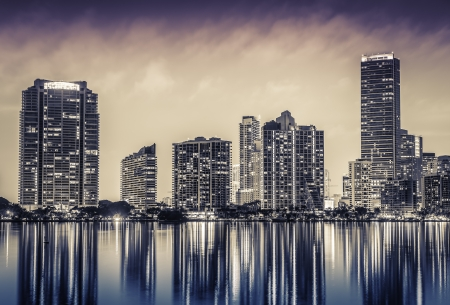 Miami downtown at night in South Florida photo