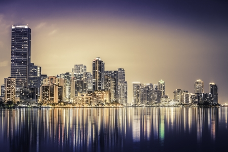 panoramic beach: Miami downtown at night in South Florida Stock Photo