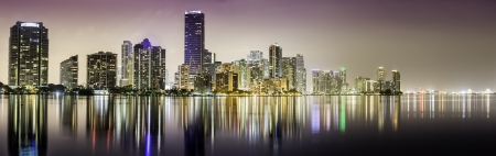 Miami downtown panorama at night in South Florida photo