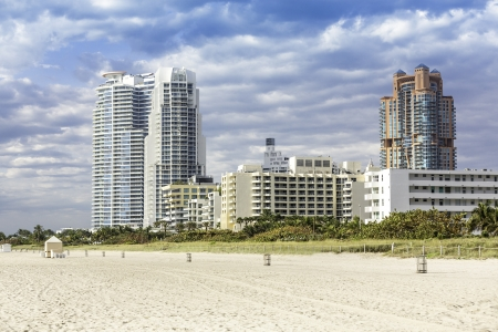 Miami beach with skyscrapers, Florida