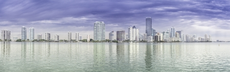 Miami skyline panorama  from Biscayne Bay